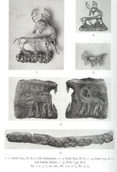"""Silver thread embroidery. 10th C Birka, Sweden. That is one cutie silver """"fox"""" on the right"""