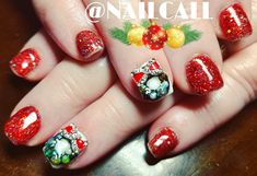#infilledacrylicnails with #3dnailart #handcraftednailart using #bitsnbobs from @nailcall extensive supply of #nailbling brought to YOU every visit   #jinglebellsglitter from @lightelegancehq #lightelegance  #rednails  #nailcall #mobilesalon #creativenails happen by appointment #nailart #glittergel #lovethefinish #lovenails #myportstephens #mynewcastle #newcastlenswart #sharethelove #Lovewhatyoudo #blessed #christmasnailart #Christmas2017