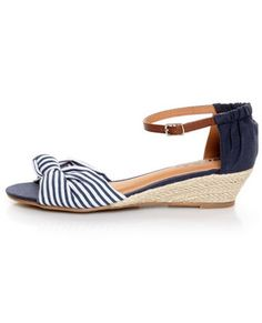 Add a little retro flair into your daily look with the Soda Zaria Navy & White Stripe Espadrille Sliver Wedges! Split canvas upper with a cute knot at the vamp. Striped Wedges, Striped Sandals, Striped Espadrilles, Low Wedge Sandals, Summer Sandals, Summer Feet, Low Wedges, Espadrille Wedge, Summer Shoes