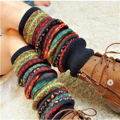 Fashion Women's Crochet Knit Colorful Winter Wool Leg Warmers Stocking