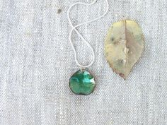 Enamel pendant necklace green emerald autumn fall fashion by alery, $27.00