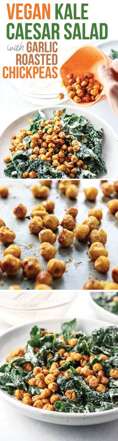 This Vegan Kale Caesar Salad with Garlic Roasted Chickpeas is a delicious and filling summer salad. It's tossed with a creamy tahini-based dressing and is topped with a half-cup of chickpeas for plenty of plant-based protein and fiber.   Developed as part of my ongoing partnership with USA Pulses & Pulse Canada #ad #halfcuphabit #justaddpulses  Sign up for the Half-Cup Habit today at pulses.org!
