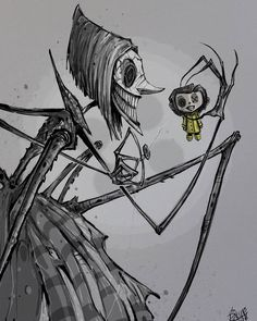 The Other Mother Die andere Mutter The post Die andere Mutter appeared first on Frisuren Tips - People Drawing Die Coraline Jones, Coraline Doll, Coraline Drawing, Doll Drawing, Drawing Sketches, Coraline Tattoo, Creepy Drawings, Dark Art Drawings, Halloween Drawings