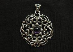 Vintage Floral Ornamental Pendant w Purple by ChryssalasStore, $30.00