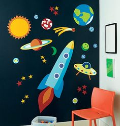 What a fun way to put up planets  Spaceship Painting Wall Mural - Wallpaper Mural Ideas - 13187