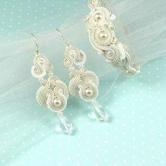 Soutache bridal set with pebbles and Swarovski crystals...