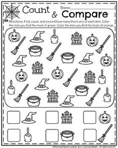 Adorable kindergarten worksheets for Halloween. Find, count, and compare. So fun!!