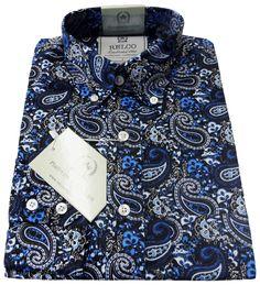 Relco Mens PLATINUM COLLECTION Blue Paisley Print Shirt Mod Vintage Retro 60s