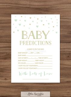 Just bought these! I think it would be fun to do a lottery with this - have a $10 Herms giftcard up for grabs for whoever comes closest to correct gender and date! Baby Prediction Card Mint Gold Hearts / Gender Neutral Baby Shower Game / Mint Gold Baby Shower Game / Printable Digital / INSTANT DOWNLOAD