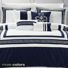 """Venice 7-piece Cotton Comforter Set.  Blue is a better color for your bedroom.  Red is a very excitable color and not """"restful"""" like blue.  Let me know what you think.  Blue and Gray will look very clean and contemporary."""