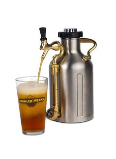 uKeg 128 pressurized stainless steel growler, mini keg in half-gallon size. Keeps beer cold and fresh for weeks. Durable, double-wall vacuum insulated with tap.