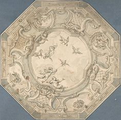 Octagonal Ceiling Design with Putti and Birds