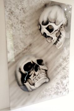 AIRBRUSH SKULLS Painted Steel Man Cave Garage by BigFishCustoms,