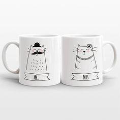MR and MRS Mugs Set Personalized Gift Idea Cat Wedding Gift