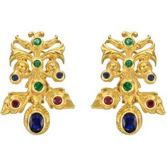 Peggy Stephaich Guinness Gemstone Gold Hungarian Earclips ($12,550) ❤ liked on Polyvore featuring jewelry, earrings, multiple, earring jewelry, yellow gold earrings, 18k gold jewelry, gem earrings and gold jewelry