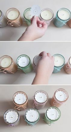#DIY ~ how to make tinted mason jars candles! Using quilted crystal jelly jars and Martha Stewart Liquid Fill Glass Paint ~ these make terrific bridesmaid gifts!