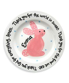 Pottery idea  Another great find on #zulily! Pink 'Thankful' Bunny Personalized Plate #zulilyfinds