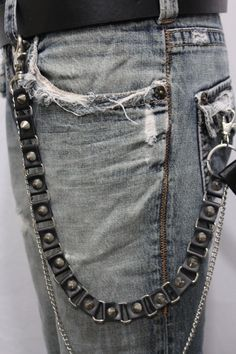 cac110e6ea34 New Trendy Fashion Chic Wallet Chain Holder Ring - Spikes Studs Jeans Heavy  Duty Long And