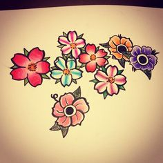 Tattoo flash art - cherry blossoms  And flowers all with color pencil  Fabre Castle pens for inking!