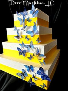 24 Blue Decorative Wafer Paper Butterflies Assorted Set in 5 different sizes Cake Decorations Cupcake Toppers *** You can get additional details at the image link.