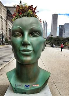 Creepy Giant Planter Heads in an Interactive Public Art Projects Aim To Promote An Eco-Friendly Chicago Creepy, Chicago, Face Planters, My Kind Of Town, Funky Art, Public Art, Hobbies And Crafts, Garden Art, Garden Sculpture