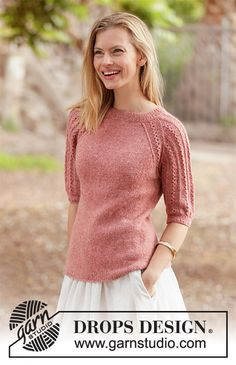 Evening Glow / DROPS - Free knitting patterns by DROPS Design Evening Glow - Knitted jumper in DROPS Sky. Piece is knitted top down with raglan and short sleeves with lace pattern. Knitting Patterns Free, Knit Patterns, Free Knitting, Free Pattern, Drops Design, Top Down, Summer Knitting, Crochet Diagram, Yarn Brands