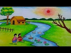 Nature drawing for kids how to draw a scenery of the natural environment to be lost Scenery Drawing For Kids, Drawing Videos For Kids, Easy Drawings For Kids, Cool Drawings, Pencil Drawings, Simple Drawings, Scenery Pictures, Pictures To Draw, Drawing Pictures