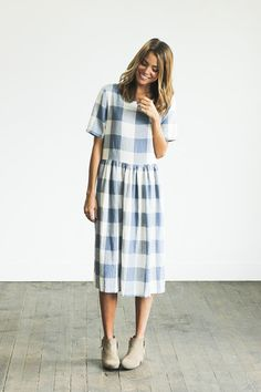 Picnic Dress // CLAD I love this modest midi blue gingham dress from Clad and Cloth!