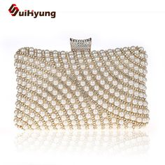 New Fashion Women's Pearls Clutch Bags Party Evening Bag Beaded Diamond Wedding Day Clutch Small Purse Shoulder Chain Handbags