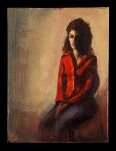 Το κόκκινο πουκάμισο / The red shirt λάδι σε καμβά / oil on canvas 24.0*32.5*2.0 cm