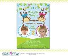 Personalized  Twin Invite Second Birthday by adlyowlinvitations, $18.00