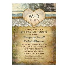 country rustic rehearsal dinner invitations