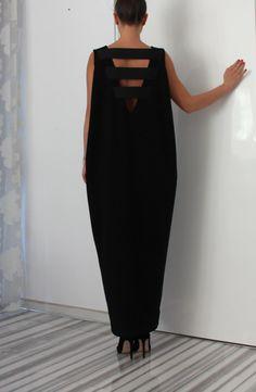 Black Oversized Backless Dress / Long Maxi Dress/Sleeveless dress/Open back dress/Special sizes Dress/caftan dress