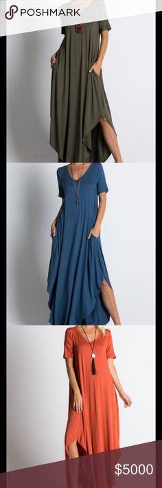 COMING SOON! OLIVE/DENIM BLUE/RUST BOHO LOOSE MAXI DRESS Peach Couture Dresses Maxi