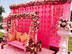 Looking for Tassel decor in light pink for mehendi? Browse of latest bridal photos, lehenga & jewelry designs, decor ideas, etc. on WedMeGood Gallery. Desi Wedding Decor, Wedding Hall Decorations, Engagement Decorations, Anniversary Decorations, Wedding Ideas, Wedding Swing, Wedding Stage, Mehndi Decor, Mehendi