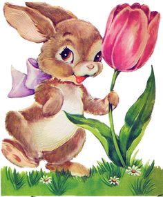 Bunny+and+tulip.png (413×500)