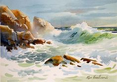 S brewing artworks painting, watercolor и watercolor a Watercolor Ocean, Watercolor Landscape Paintings, Watercolor Artists, Seascape Paintings, Watercolor Techniques, Watercolour Painting, Watercolor Trees, Indian Paintings, Watercolor Portraits