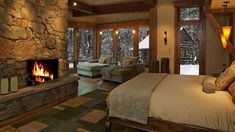 Be inspired by 10 Cozy Interior Design Ideas With Fireplaces - With the Winter approaching and the cold days here to freeze our hands (but not our souls), Rustic Master Bedroom, Log Home Bedroom, Log Cabin Bedrooms, Lodge Bedroom, Outdoor Bedroom, Rustic Bedrooms, Rustic Room, Cozy Bedroom, Bedroom Fireplace