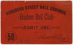 Congress Street Ballgrounds pass [front], via Flickr.
