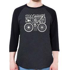 Bicycle Parts Men's 3/4 Sleeve, Baseball Shirt