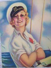 R. WILSON HAMMELL ART DECO 1930'S PIN-UP SAILING GIRL PRINT REGISTRY MARK Pin Up Art, Color Theory, Pin Up Girls, Art Girl, 1930s, Dame, Vintage Ladies, Sailing, Disney Characters