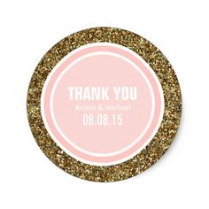 Gold Glitter and Petal Pink Thank You Label Classic Round Sticker