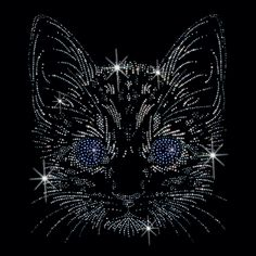 10x12  - CAT IN STUDS W/BLUE EYES - RHINESTUDS - blue, blue eyes, cat, eyes, rhinestuds, studs, Material Transfer, Cats & Cat Eyes