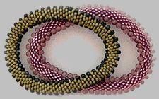 FLAT caterpillar bracelets  - 6-around slip-stitch bead crochet Pattern