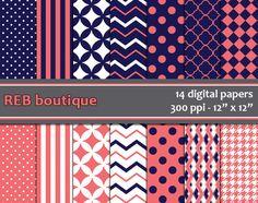 Digital Paper  Navy dark blue coral orange chevron by REBboutique, $4.50