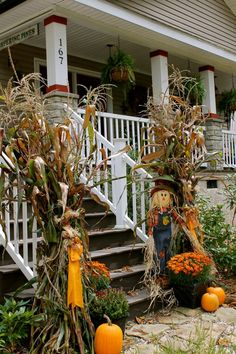 Love porches dressed up for fall!