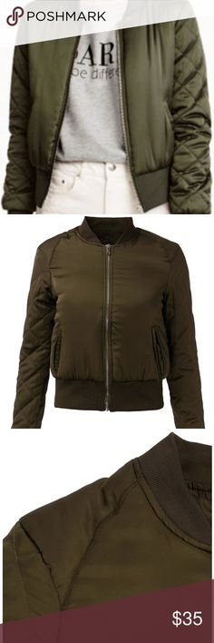 Kaki Bomber Padded Military MA-1 Flight Jacket Kylie Kaki Bomber Jacket  Small size = US size 0 - 2 Medium = US size 2 - 4 Large = US Size 6 - 8  Material: Polyester Color: Army Green  Stylish yet so easy to throw on over anything.  Please look at our other listed products.  Thank you. BLANC NY Jackets & Coats Puffers