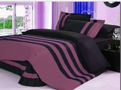 Xmas 14'' 7 Pc Stripped Full Pale Violet & Black Duvet / Quilt Cover Set
