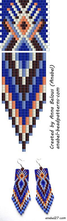 схемы бисероплетение серьги мозаика анабель free peyote pattern