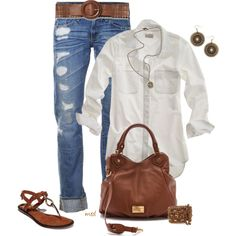 crisp white shirt, distressed jeans, brown, and gold